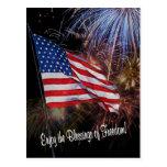 American Flag And Fireworks Design Postcard