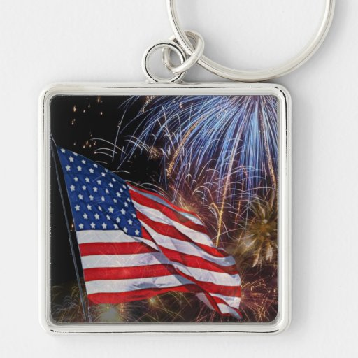 American Flag And Fireworks Design Silver-Colored Square Keychain