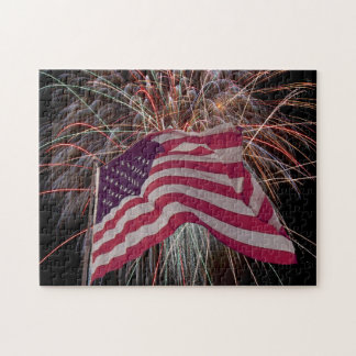 American Flag and Fireworks Jigsaw Puzzle