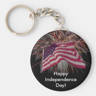 American Flag and Fireworks Keychain