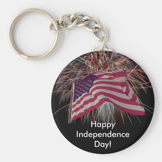 American Flag and Fireworks Keychain