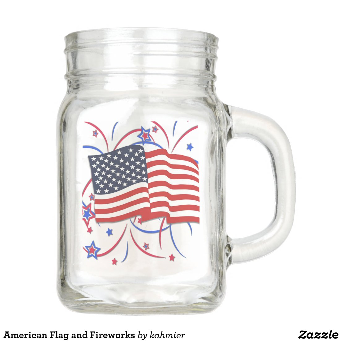 American Flag and Fireworks Mason Jar