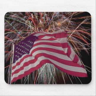American Flag and Fireworks Mouse Pad