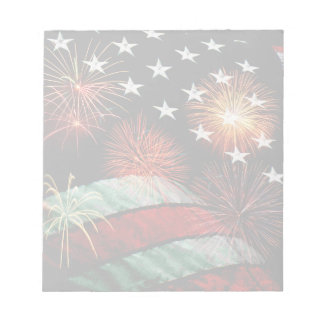 American flag and fireworks notepad