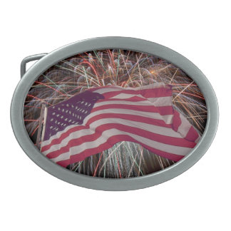 American Flag and Fireworks Oval Belt Buckle