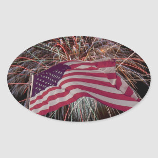 American Flag and Fireworks Oval Stickers