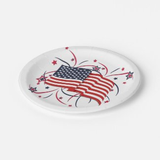 American Flag and Fireworks Paper Plate