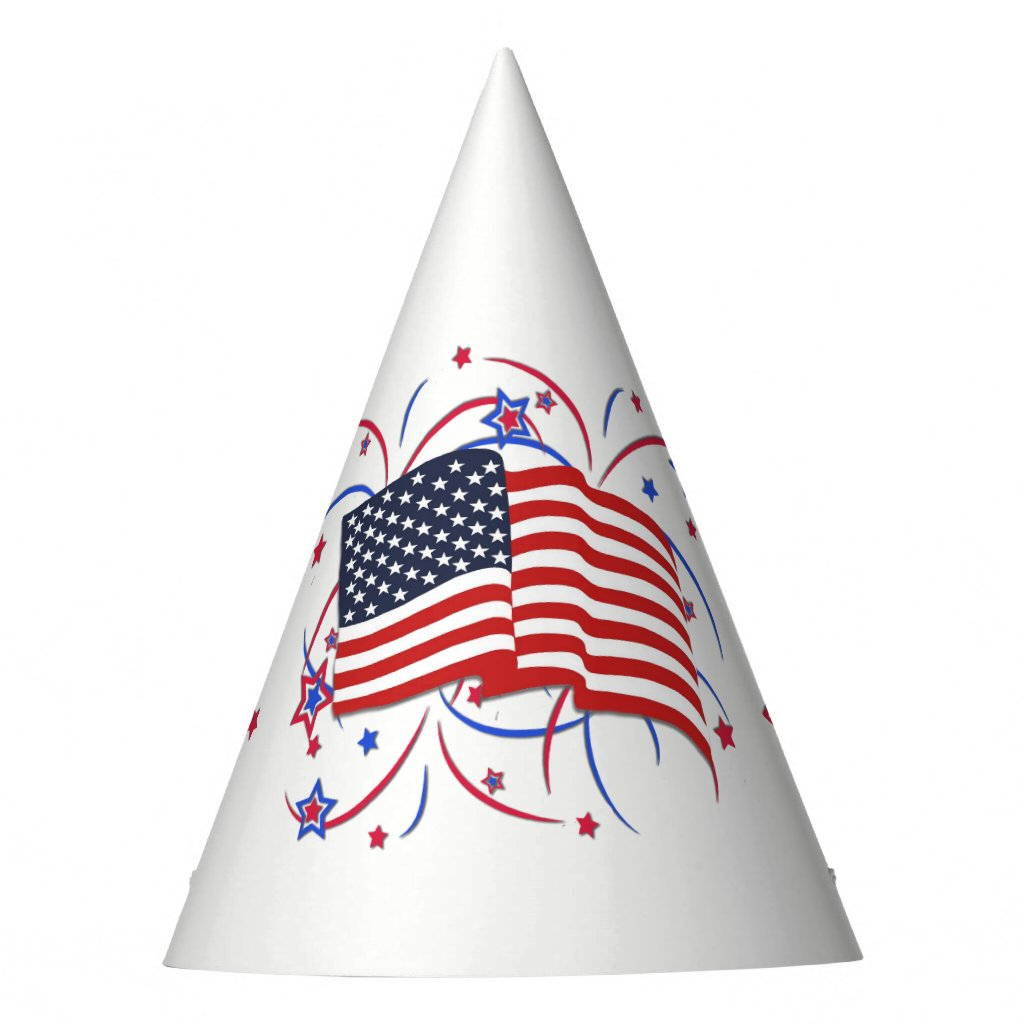 American Flag and Fireworks Party Hat