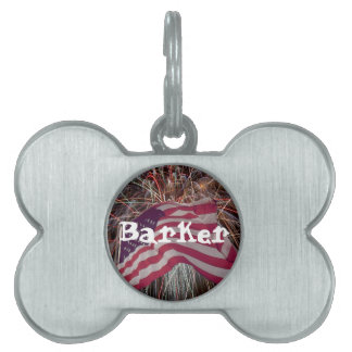 American Flag and Fireworks Pet Name Tag