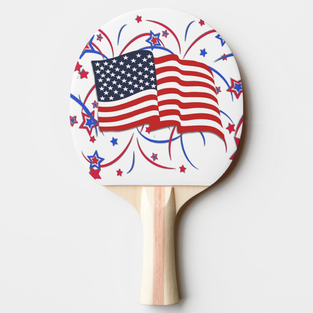 American Flag and Fireworks Ping Pong Paddle