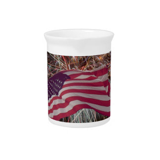 American Flag and Fireworks Pitchers