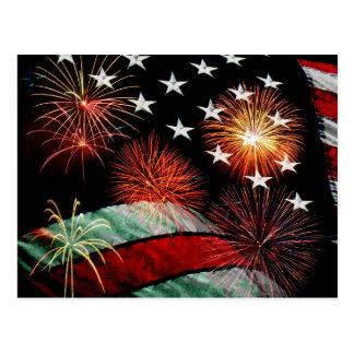 American flag and fireworks postcard