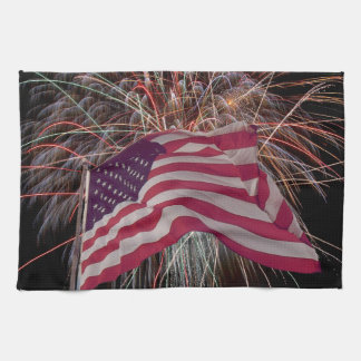 American Flag and Fireworks Towel