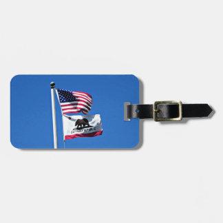 American Flag and Flag of California Travel Bag Tag
