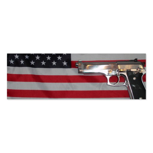 American Flag and Gun Bookmark Double-Sided Mini Business Cards (Pack Of 20)