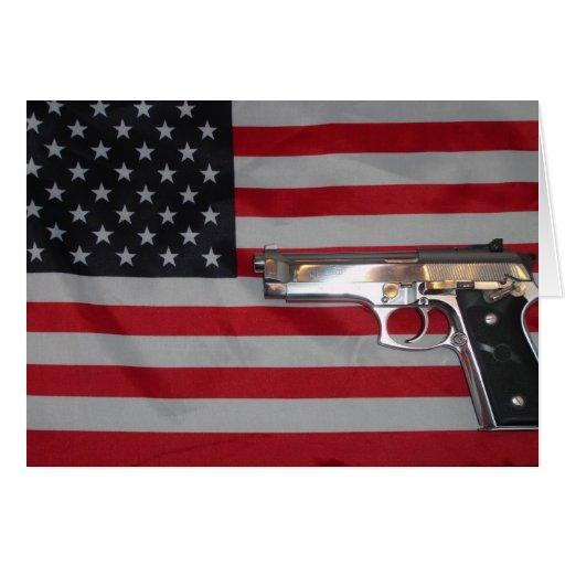 American Flag and Gun Card