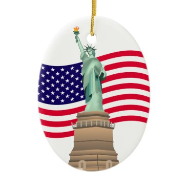 American Flag And Lady Liberty Ceramic Ornament