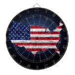 American Flag and Map Dart Board