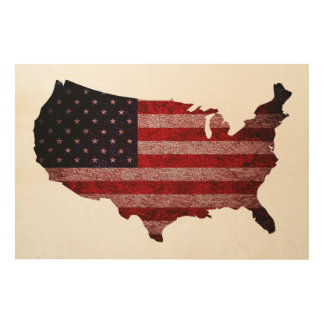 American Flag and Map Wood Print
