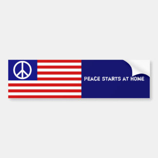 American Flag and Peace Sign Bumper Sticker