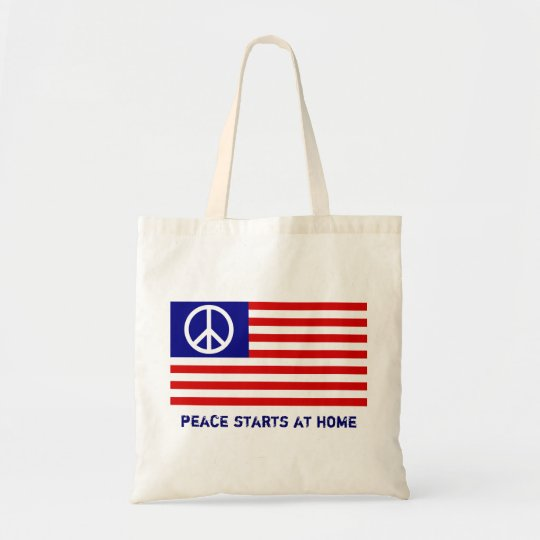American Flag and Peace Sign Tote Bag