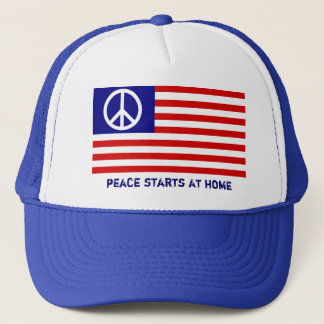 American Flag and Peace Sign Trucker Hat