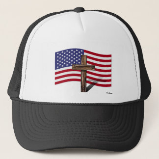 American Flag and Rugged Cross Trucker Hat
