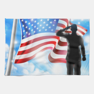 American Flag and Silhouette Soldier Saluting Hand Towels