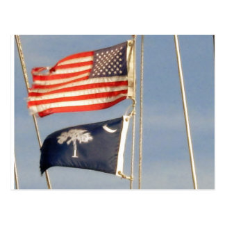 American Flag and South Carolina Palmetto Flag Postcard