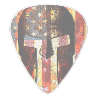 American Flag And Spartan Helmet On Rusted Metal White Delrin Guitar Pick