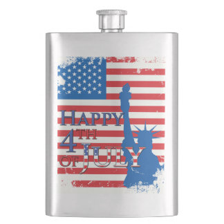 American Flag and Statue of Liberty Flask