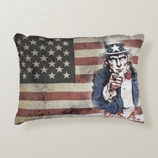 American Flag and Uncle Sam Accent Pillow