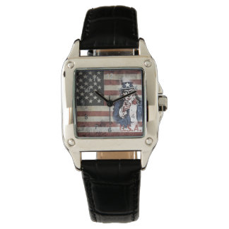 American Flag and Uncle Sam Wrist Watch