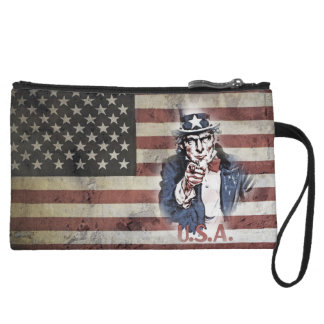 American Flag and Uncle Sam Wristlet Wallet