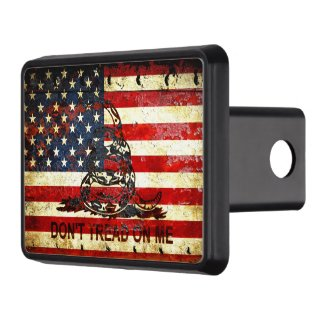American Flag And Viper On Rusted Metal Hitch Cover