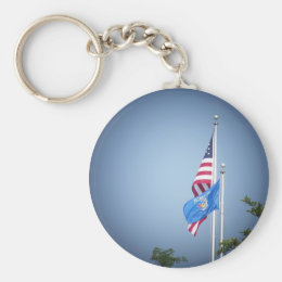American Flag and Wisconsin Flag Keychain