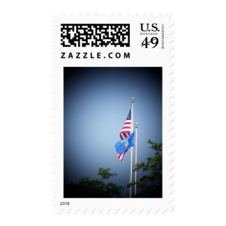 American Flag and Wisconsin Flag Stamp