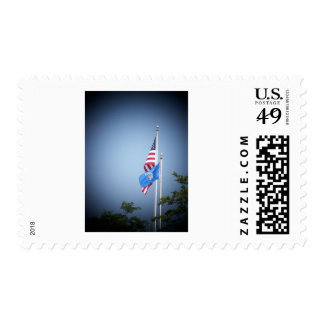American Flag and Wisconsin Flag Postage