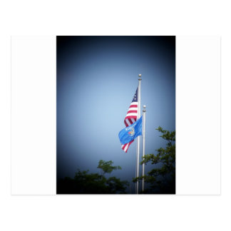 American Flag and Wisconsin Flag Postcard
