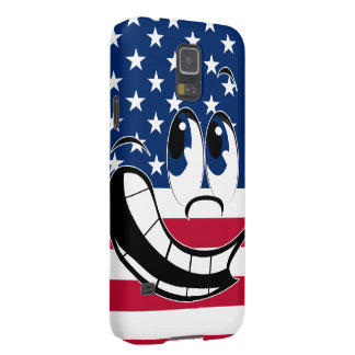 American Flag Angry Funny Smiley Face Emoticon Galaxy S5 Cover