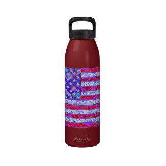 American Flag Art Liberty Water Bottle