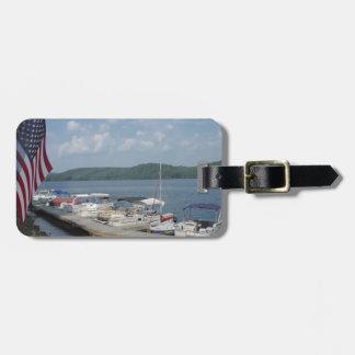 American Flag at Marina at Lake Arrowhead Luggage Tag