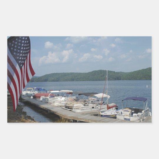 American Flag at Marina at Lake Arrowhead Rectangular Sticker