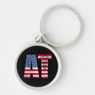 American Flag Athletic Trainer AT Keychain