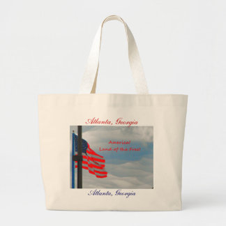 American Flag ''ATLANTA, GA' Land of the Free Large Tote Bag