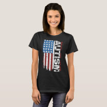 american flag autism atheist T-Shirt