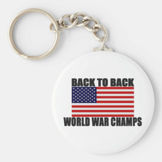 American Flag Back To Back World War Champs Basic Round Button Keychain