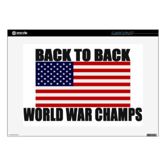 "American Flag Back To Back World War Champs Skin For 15"" Laptop"