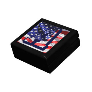 """American Flag Background & Letter """"A"""" Jewelry Box"""