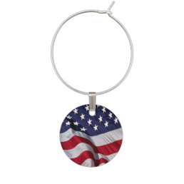 American Flag Background Wine Glass Charm